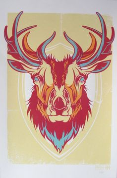Elk Plaque Hand Screen Print Poster FREE SHIPPING by Clevotine, $20.00