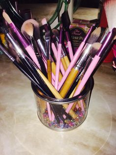 Made my own makeup brush holder :)