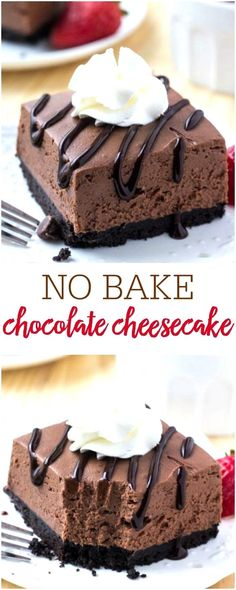 These easy no bake chocolate cheesecake bars are perfectly creamy with a crunchy Oreo cookie crust and perfect to enjoy all year long! ...r into prepared pie crust cover and chillViola One yummy dessert in no time flat Lets just hope there are leftovers for later You may want to have a f... to add ice cream for birthday parties showers and similar events A coupe shape plate smooth with slightly raised sides or even a shallow soup bowl wo #dessertchronicle.com #desserts-no-bake-chocolate… No Bake Chocolate Cheesecake, Cheesecake Bars, Chocolate Desserts, Chocolate Chips, Baking Chocolate, Chocolate Cheese Cakes, No Bake Cheescake, Baked Oreo Cheesecake Recipe, Oreo Cheesecake Cupcakes