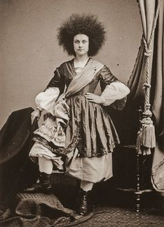 Caucasian (Circassian) beauty Zalumma Agra, 1860s Photographer: Matthew Brady, New York.  More than likely, she was a local girl who was stylized by P.T. Barnum.