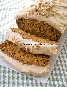 Pumpkin Bread with Pumpkin Buttercream.  Oh my.  Sub out eggs and diary to make vegan.  Easy peasy delicious!