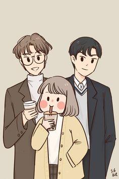 Cute Couple Drawings, Cute Couple Art, Anime Couples Drawings, Cute Drawings, Cute Art Styles, Cartoon Art Styles, Character Art, Character Design, Arte Indie