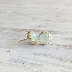 Jade earrings, stud jade gemstone earrings, classic earrings Goldfilled stud…