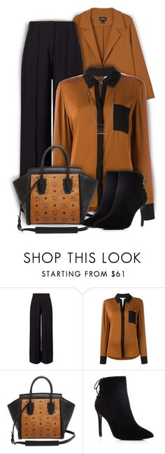 """Black and Brown in the Office"" by kiki-bi ❤ liked on Polyvore featuring Monki, Miss Selfridge, Diane Von Furstenberg, MCM, Charles David, Miadora, trousers, blackbooties, suedeboots and oversizedcoat"