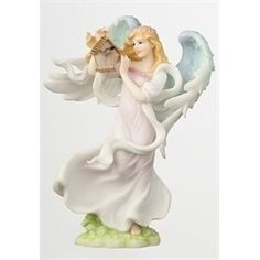 "Seraphim ""Adrienne"" Nature's Guardian Angel & Birdhouse Figures"