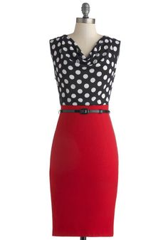Profesh Opinion Dress - Long, Red, Black, White, Polka Dots, Belted, Work, Sheath / Shift, Sleeveless, Cowl, Solid, Pinup, Vintage Inspired, 40s, 50s, Twofer