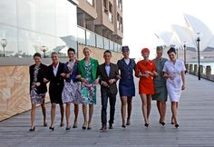 Qantas uniforms of the past which were designed by Yves Saint Laurent, Emilio Pucci, Balenciaga, Cynthia Rowley and etc.