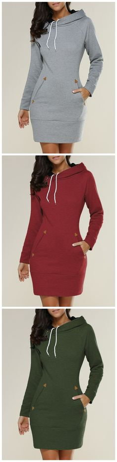 $11.46 Tight Short Long Sleeve Long Hoodie Mini Dress