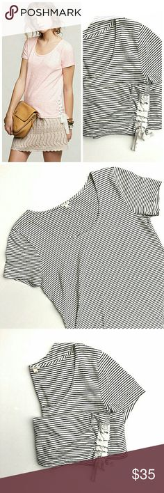 J. Crew Striped Lace-up Tee In excellent condition. No signs of wear.  Size extra small. Smoke and pet free home. Ships within one day. J. Crew Tops Tees - Short Sleeve