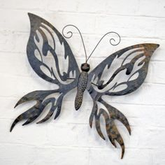 Decorative Large Metal Butterfly Garden Wall Art Black / Brown Finish £29.99