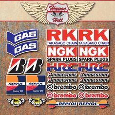 Motorbike+Race+24x+Laminated+Stickers+HRC+GAS+RK+NGK+BREMBO+REPSOL+motorcycle+