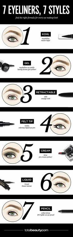 7 Eyeliners, 7 Styles :: Kohl, Gel, Retractable, Felt Tip, Cream, Liquid, Pencil