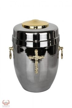 Beautifu Metal Cremation Urn for Ashes with Gold Cross Funeral Urn for Adult - unique.urns_caskets