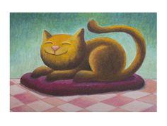 Dessin pour enfant montrant un chat qui dort sur un coussin. : Peintures par petitecoxinelle