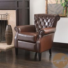 @Overstock.com - Christopher Knight Home Franklin Brown Tufted Bonded Leather Club Chair - Perfect for any office or living space, this luxurious brown bonded leather club chair is a stylish and comfortable addition. Its classic look fits well in any decor, and its wide seat with an overstuffed cushion makes it the last word in comfort.  http://www.overstock.com/Home-Garden/Christopher-Knight-Home-Franklin-Brown-Tufted-Bonded-Leather-Club-Chair/5036238/product.html?CID=214117 $273.99