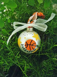 Basketball Ornament - Handpainted and sold by BrushStrokeOrnaments, $13.75
