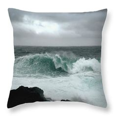 Storm Watching Throw Pillow by Micki Findlay - TheSingingPhotographer.com - various sizes, home decor, cushion, beach decor, ocean, sea, ucluelet, storm
