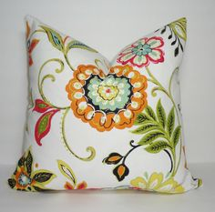 Gorgeous Orange Floral Pillow cover 18x18  Zipper closure. All seams finished.  Colors include: green, orange, blue, fushia, yellow, black, & blue on