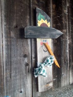 Rustic, Wood, Scarecrow, Door Art,  Autumn, Plaque, Salvaged, Wood, Primitive, Fall, Autumn on Etsy, $19.00