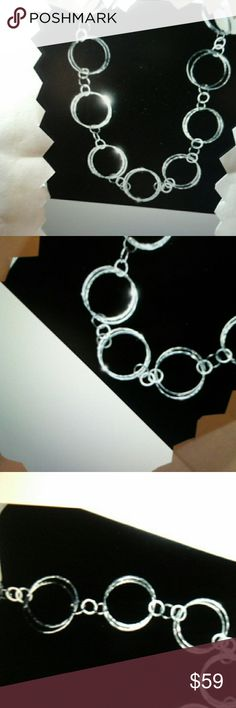 """NEW  Hammered 925 Sterling Silver Necklace, 17"""" Brand New Hammered Necklace Chain, 17 inches Jewelry Necklaces"""
