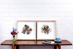 """Flora 1& 2""  380mm x 380mm, framed in Tasmanian Oak Eco-dyed silk, organza, cotton, bamboo batting, thread, sequins, beads."