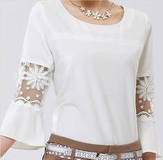 2014 New Womens Chiffon Lace Hollow Crew Neck Casual Shirt Blouse Plus Size Tops White Chiffon Blouse, Chiffon Shirt, Frill Blouse, Lace Chiffon, Umgestaltete Shirts, Shirt Blouses, Plus Size Blouses, Plus Size Tops, Blouse Styles