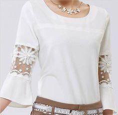 2014 Nuevo Para Mujer De Gasa Encaje hueco de cuello redondo Casual Camisa Blusa tops Plus tamaño