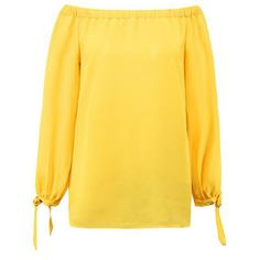 Yoins Yellow Off Shoulder Sleeves Side Slit Chiffon Blouse ($12) ❤ liked on Polyvore featuring tops, blouses, yellow, sleeve blouse, chiffon sleeve blouse, long sleeve chiffon blouse, off shoulder tops and yellow top
