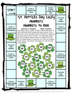 St. Patrick's Day math board game from St. Patrick's Day Math Games, Puzzles and Brain Teasers by Games 4 Learning.  $