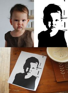 diy poster. turn picture black and white, draw grid on print out, draw grid on larger paper, draw picture, paint with black ink.