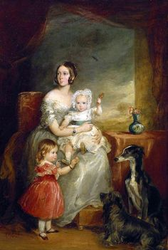 Queen Victoria (Alexandrina Victoria) (1819-1901) with 1st & 2nd Child of her & Prince Albert (1819-1861). The Princess Victoria Adelaide Princess Royal & Crown Princess of Prussia (1840-1901) (later wife of Frederick III (1831–1888) German Emperor and King of Prussia) & baby King Edward VII (Albert Edward Prince of Wales) (1841-1910) (later husband of Alexandra of Denmark (1844–1925)) by Sir Francis Grant.