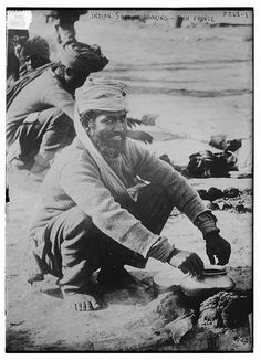 Indian soldier cooking -- France (LOC) by The Library of Congress, via Flickr