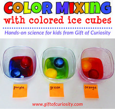 Color mixing activity using colored ice cubes to show children how the three primary colors mix to make the three secondary colors. Preschool Color Activities, Preschool Prep, Pre K Activities, Preschool Science, Preschool Lessons, Science For Kids, Kindergarten Activities, Nursery Class Activities, Science For Preschoolers