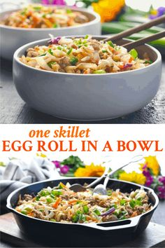 Egg Roll in a Bowl is a healthy one pot meal that's ready in 20 minutes! Ground Beef Recipes | Ground Turkey Recipes | Ground Chicken Recipes | Healthy Dinner Recipes | Stir Fry Recipe