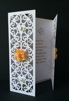 Hearts Romance Gatefold Card fits 7x 5 env invitation on Craftsuprint designed by Tina Fallon - Hearts