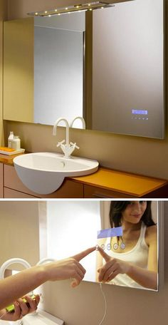 a mirror with built in iPod controls...i'm scared i would never leave the bathroom..but I can play music while i shower!