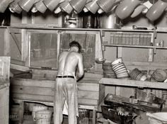 "Dishpan Hans: September 1937. Effie, Minnesota. ""Washing dishes in lumber camp."" Medium format negative by Russell Lee"