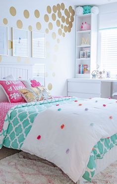 Tween Girl's Bedroom Makeover - REVEAL Teen Girl Bedroom Decorating Ideas - Contemporary with IKEA Furniture in Turquoise and White and Gold Bedroom Ideas For Teen Girls, Teenage Girl Bedrooms, Bedroom Girls, Girl Rooms, Diy Bedroom, Bedroom Sets, Ikea Girls Bedroom, Preteen Girls Rooms, Teen Girl Decor