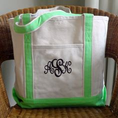 Monogrammed Canvas Tote Beach Bag by MonogramWorks on Etsy, $24.99 (instead of monogrammed pocket, paint a custom design. Use colorful/patterned fabric for bottom & straps)