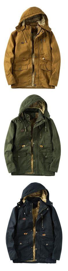 Men Plus Velvet Hooded Cotton Uniform Coat