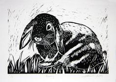 Bunny lapin Lino Cut Print fait main art cadeau par claralawlino