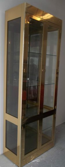 High Quality Mid Century Modern Curio Cabinets | MID CENTURY MODERN BRASS U0026 GLASS  VITRINE / CURIO