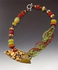 Consider potential of embossed metal with asymmetric beads. (Bone frog Okimono, with jade, carnelian and trade beads) Beaded Necklace, Gold Necklace, Japanese Outfits, Carnelian, Bones, Jade, Accessories, Jewelry, Metal