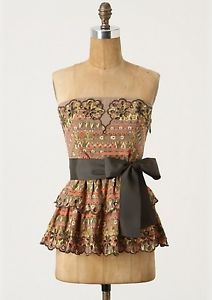 Anthropologie-Floreat-Detachable-Strap-Strapless-Babydoll-Top-Size-6-NWT