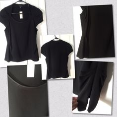 "NWT Ann Taylor Top Very Nice Fitted Black Capped Sleeve Top with darting @ sides of shoulders, chest & waist With Side Zipper & Raw edging on neckline. Has shoulder pads. Measurements are 18"" across chest & 26"" in length. Material is 71% Acetate & 29% Polyester Size is 14 but being fitted, fits more like a Size 12 Ann Taylor Tops Blouses"