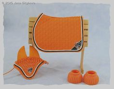 Saddle Pad, Fly Bonnet And Bell Boots Set - model horse tack