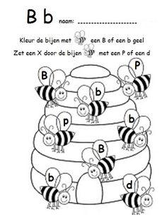 Kleur de bijen met een B-b. Zet een X door de bijen met een P-d