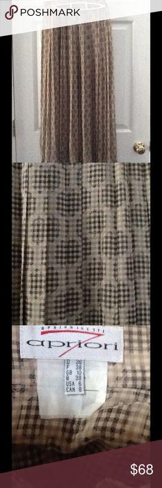 Apriori Pencil Beige Brown Pleaded Long Skirt Sz 6 Apriori Pencil Beige Brown Pleaded Long Skirt Sz 6 Waist 26 Length 34 Apriori Italy Skirts Midi