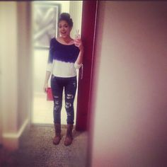Topknot, jeans, and a comfy top ❤ - @bethanynoelm Macbarbie07