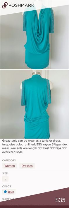 Nikki Danielle Paris Tunic Dress. Sizing pic 3. LOOK Some photos can be deceiving if you only glance at them. This 👗turquoise dress needs a couple of looks to appreciate the beauty and style from Nikki Danielle Paris. Can be worn as a tunic or dress.  Glittering stones outline  each draped arm drawing more attention to this lovely creation.  Please look at photos 1-4 and descriptions carefully before you purchase. Reposh.  This item is not returnable. Press like on any item in my closet and…